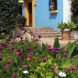 Stock Photo: Spanish house in pueblo with blue walls and yellow trim
