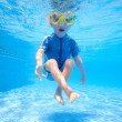 Young boy underwater in swimming pool - Stock Photo