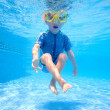 Stock Photo: Young boy underwater in swimming pool