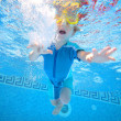 Young boy underwater in swimming pool — Stock Photo