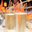 Two Champagne glasses filled with alcohol — Stock Photo