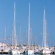 Three tall sailing ships moored in sunny Spanish port or harbour — Stock Photo