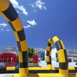 Colorful inflatable go cart track - Stock Photo