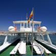 Rear of tour boat at Roquetas del Mar port in Spain - Stock Photo