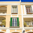 Bright colours of sunny modern Spanish Pueblo — Stock Photo