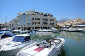 Boats and Yachts in Benalmadena Port — Stock Photo