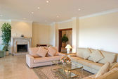 Bright, luxury interior living room of modern villa — Stock Photo