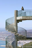 Barbary Ape or monkey sitting on spiral steps on Gibraltar — Stock Photo