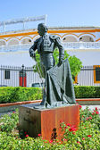 Statue of bullfighter outside bullring in Seville Spain — Stock Photo