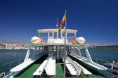 Rear of tour boat at Roquetas del Mar port in Spain — Stock Photo