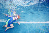 Child or young boy holding breath underwater — Stock Photo
