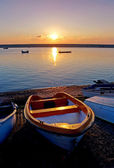 Old Rowing Boats by Sea During Sunset — Stock Photo