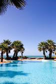 Luxury swimming pool with sea views — Stock Photo