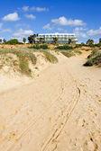 Luxury white Spanish hotel on the beach — Стоковое фото