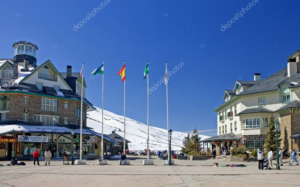 Main town square of Prodollano ski resort in the Sierra Nevada mountains in Spain — Stock Photo #6238746