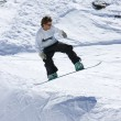 Snowboarder on half pipe of Prodollano ski resort in Spain — Stock Photo