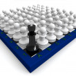 Many pawns defeated king — Stock Photo #5519130