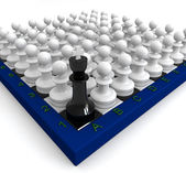 Many pawns defeated king — Stock Photo