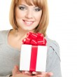 Woman with gift-box — Stock Photo