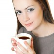Woman holding a white cup — Stock Photo #5606680