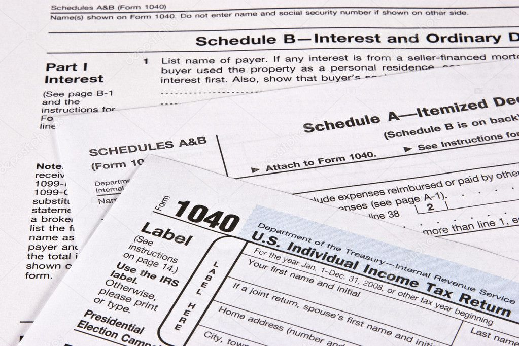 U.S. Income Tax return with schedules A and B — Stock Photo #6188862