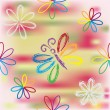 Seamless pattern with floral rainbow composition and butterfly - Stock Vector