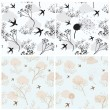 Collection of four seamless patterns with birds and flowers — Stock Vector