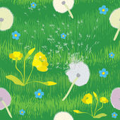 Seamless pattern with grass and cartoon flowers — Stock Vector