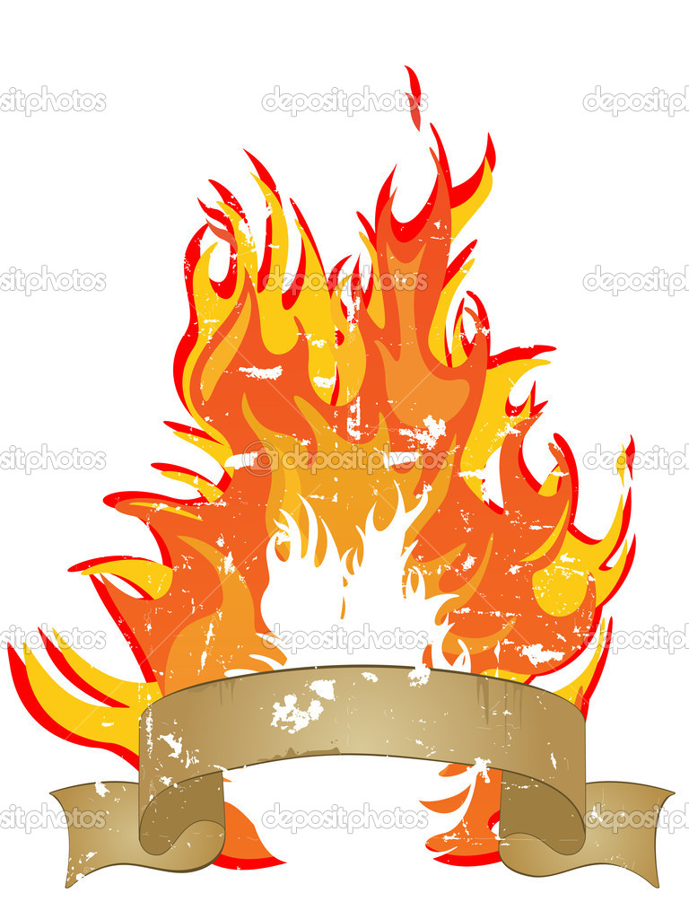 Vector illustration of a banner infront of a hot burning fire  — Stock Vector #5770248