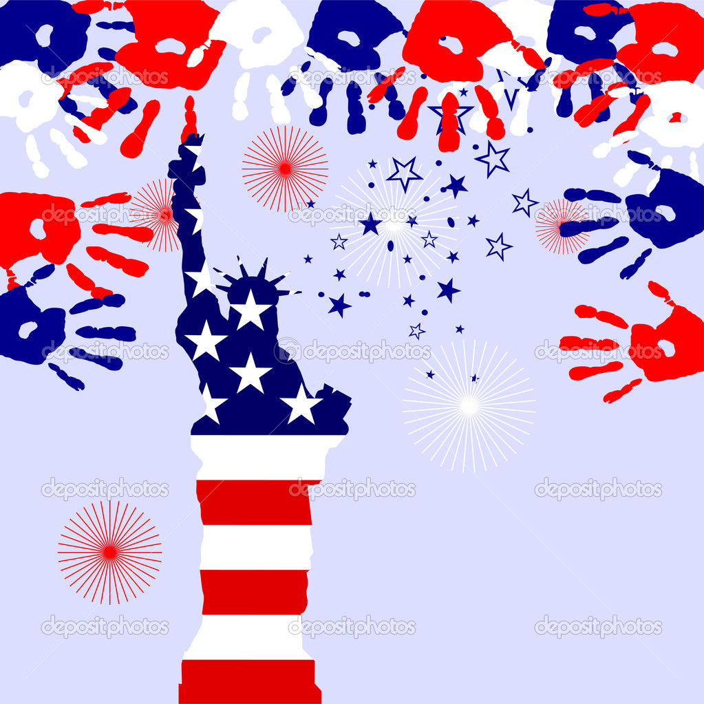 Vector illustration from the statue of liberty on a colorful fireworks background — Stock Vector #5770430