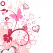 Vector de stock : Hearts and butterflies