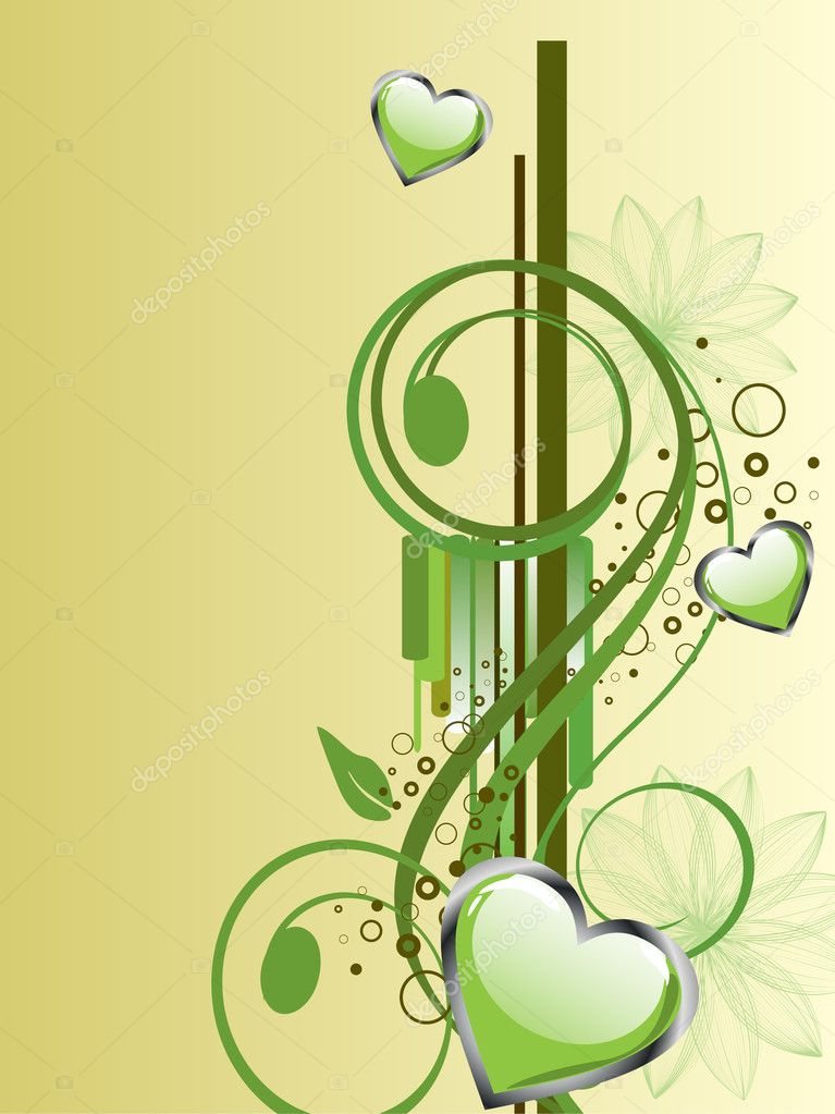 Vector illustration of green hearts on a floral background — Stock Vector #5993067