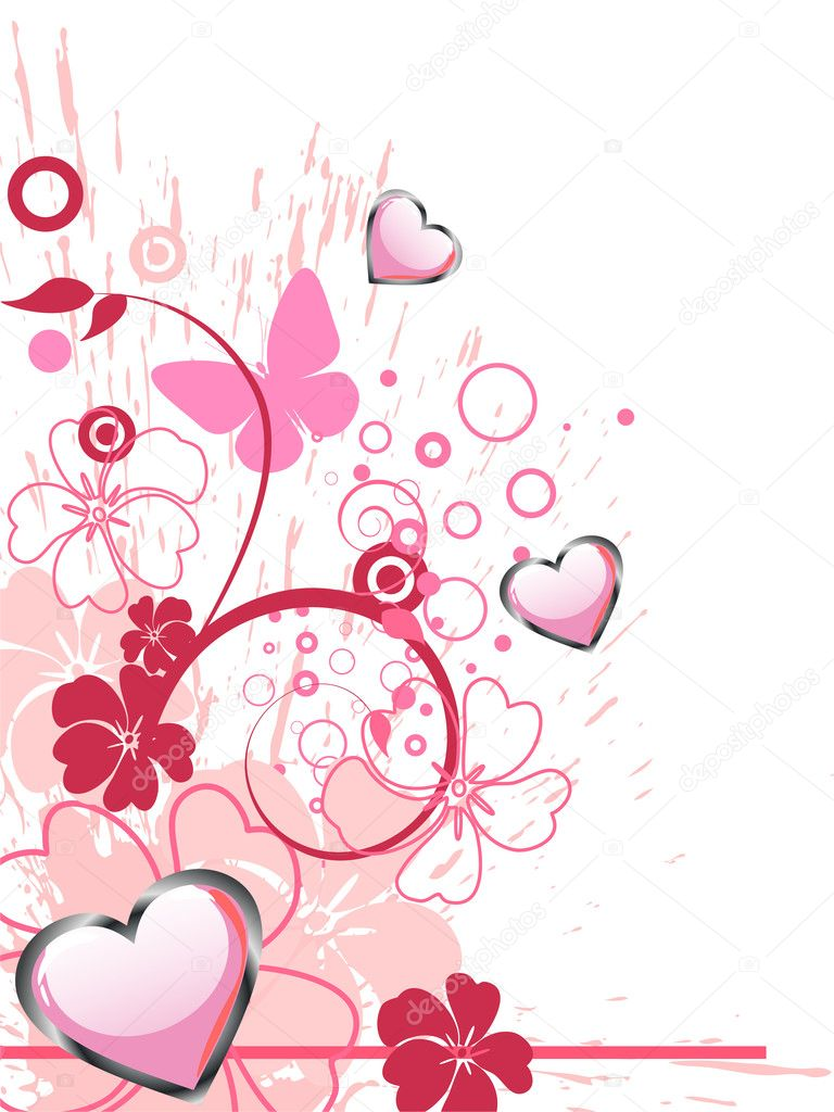 Vector illustration of pink hearts and colorful butterflies on a floral background  Stock Vector #5993137