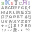Sketch design alphabet. Vector — Stock Vector