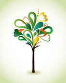 Painting green tree. Vector — Stock Vector