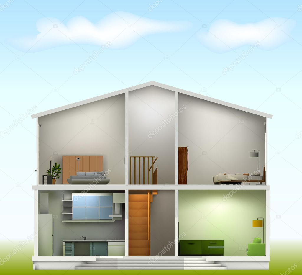 House cut with interiors on against the sky. Vector illustration — Stock Vector #5440991