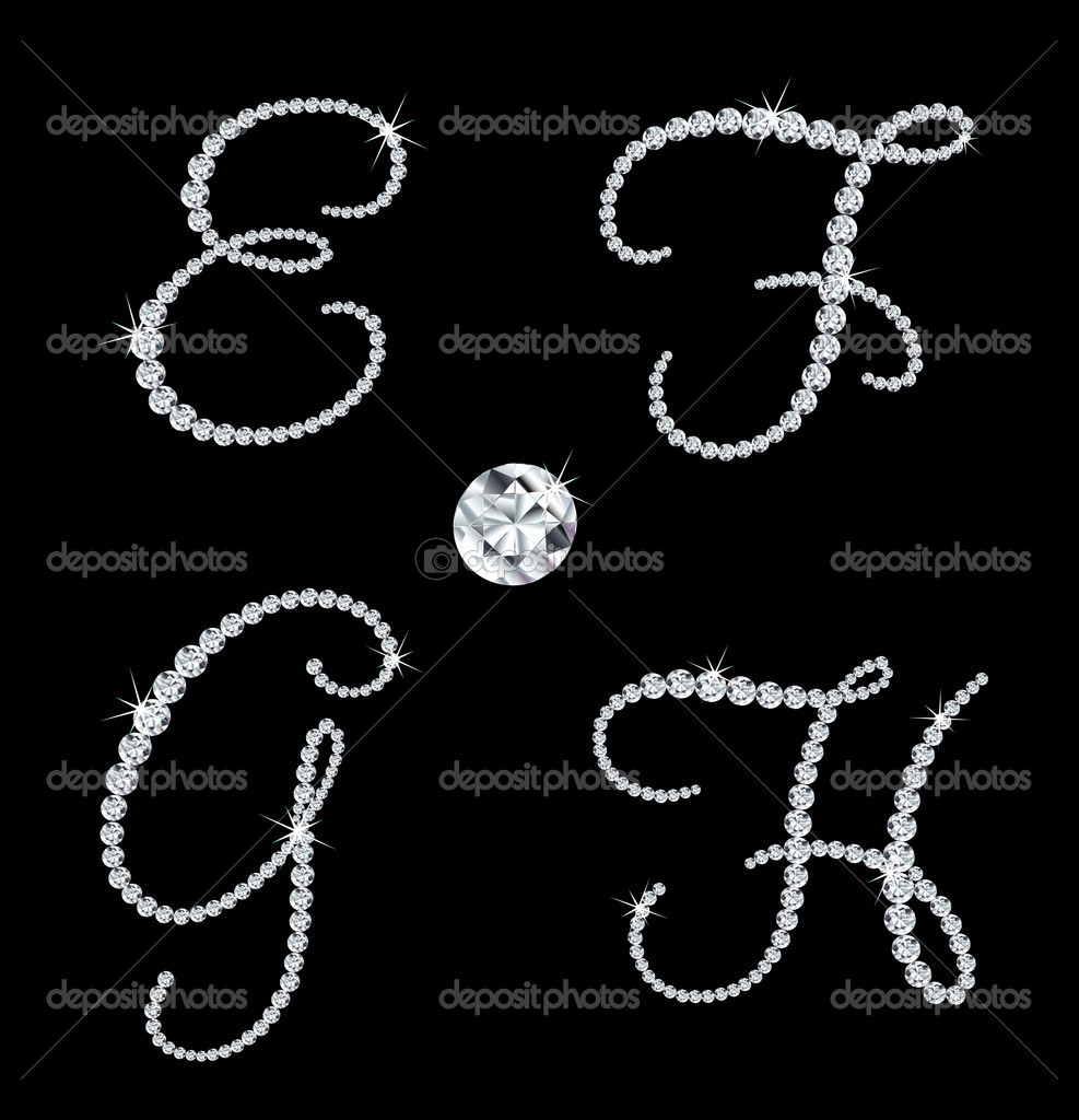 Set of diamond alphabetic letters with bright stars. Vector illustration — Stock Vector #5478650