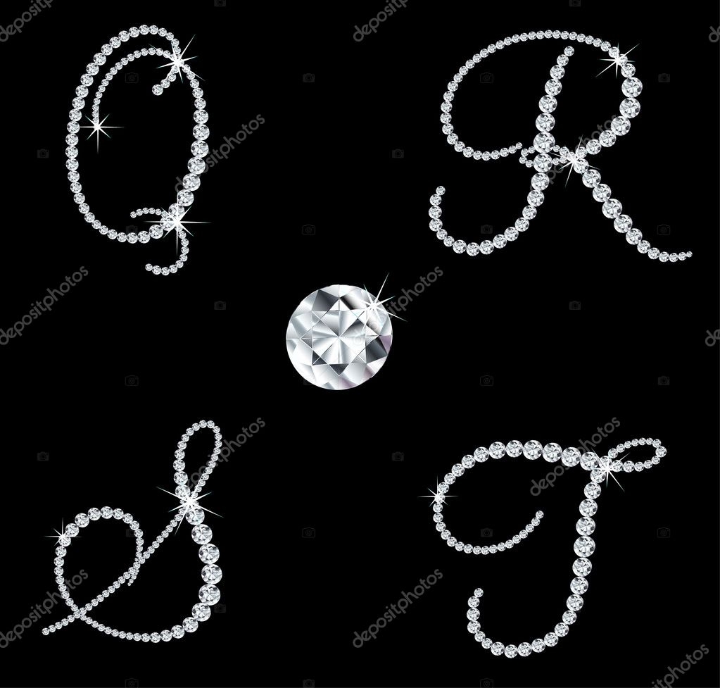 Set of diamond alphabetic letters with bright stars. Vector illustration — Stock Vector #5539496