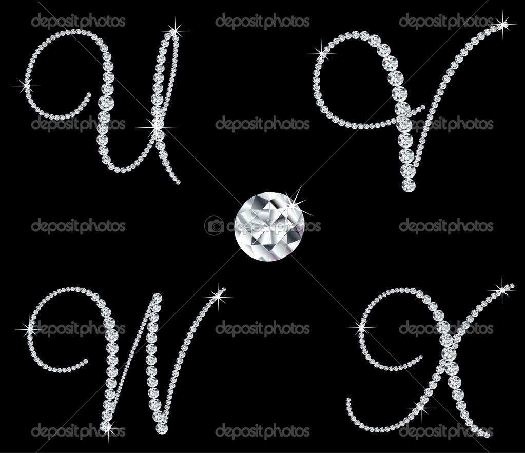 Set of diamond alphabetic letters with bright stars. Vector illustration — Stock Vector #5539507