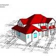 3d house. Vector technical draw - Stock Vector