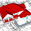 3d house. Vector technical draw — Imagen vectorial
