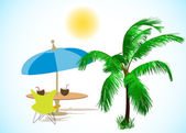 Summer palm, umbrella and cocktails. Vector — Stock Vector