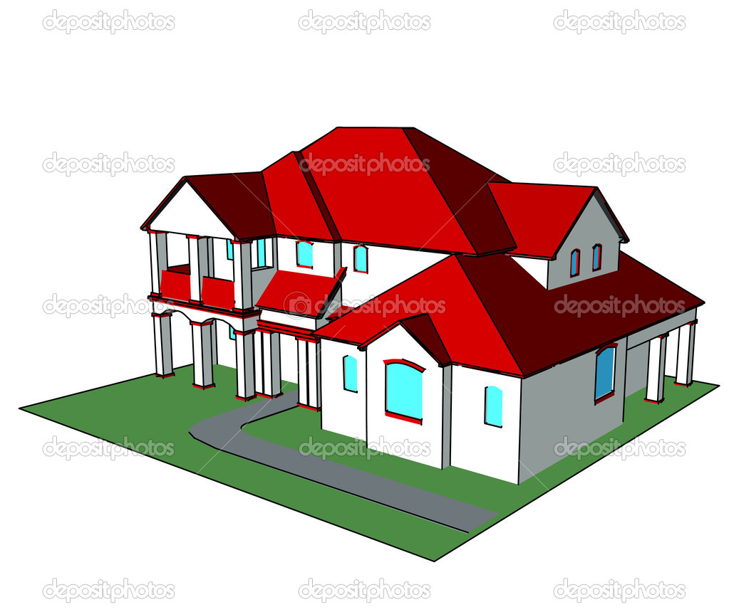 3d house technical draw  Isometric Dream House Drawing