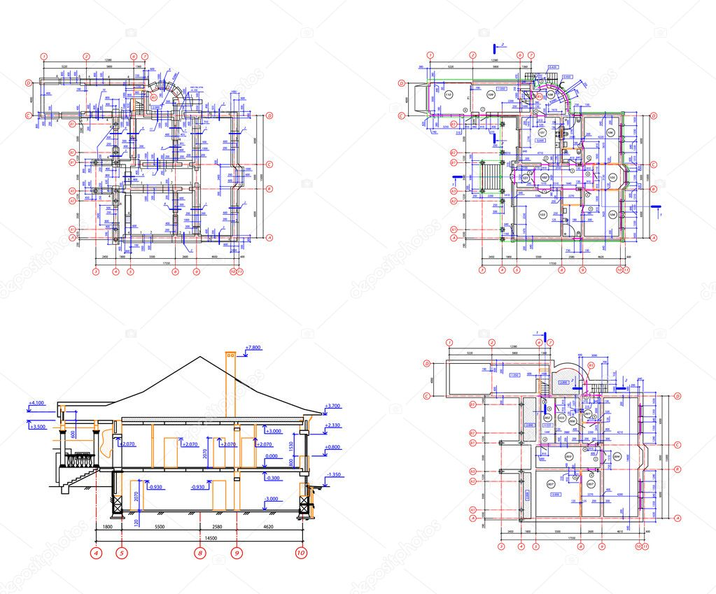 Set architecture background house plan stock vector for House plan set