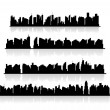 Set city silhouettes. Vector — Stock Vector