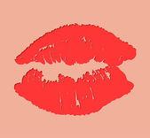 Red Lips On beige Background. Vector — Stock Vector
