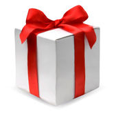 Present box with red bow. Vector — Vecteur