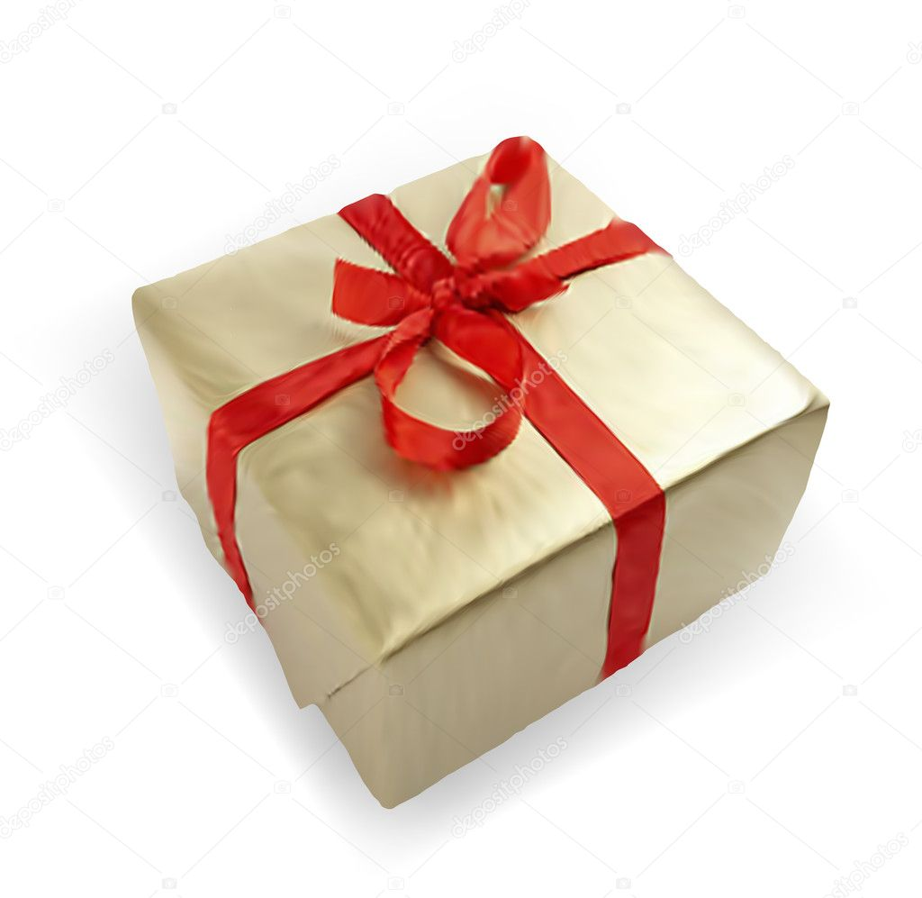 Gift box with red ribbon isolated on white background — Stock Vector #6481722