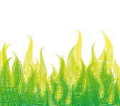 Scribble Fire In Green Grass. Vector — Stock Vector