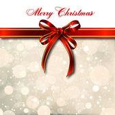 Red bow on a magical Christmas card. Vector — Stock Vector
